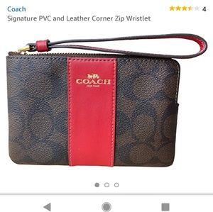 NWT Coach signature PVC leather zip wristlet